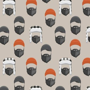 (small scale)woodsman -  lumberjack hat and beards - orange on beige