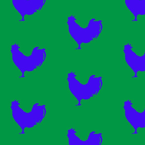 Tea Towel Blue Rooster on Green