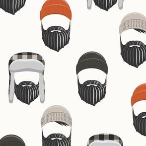 woodsman - lumberjack hat and beards - orange on cream