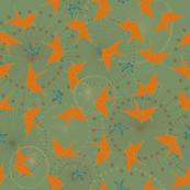 Vintage Origami Cranes - Orange & Olive