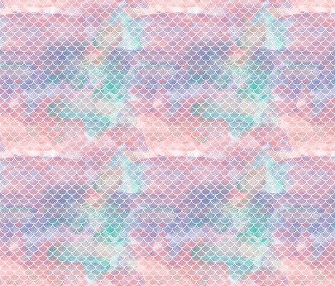 "Watercolour Mermaid Scales 3/4"" fabric by xtinew on Spoonflower - custom fabric"