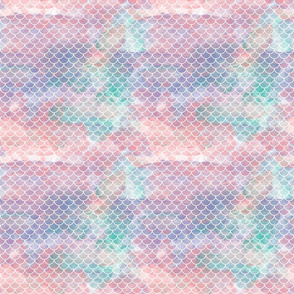 Watercolour Mermaid Scales 3/4""