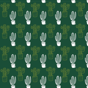 Cactus Stamps in Green & White