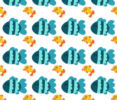 Yellow Fish Blue Fish fabric by littlefancypants on Spoonflower - custom fabric