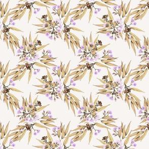 mini Gumnuts & Eucalyptus Purple, Gilded