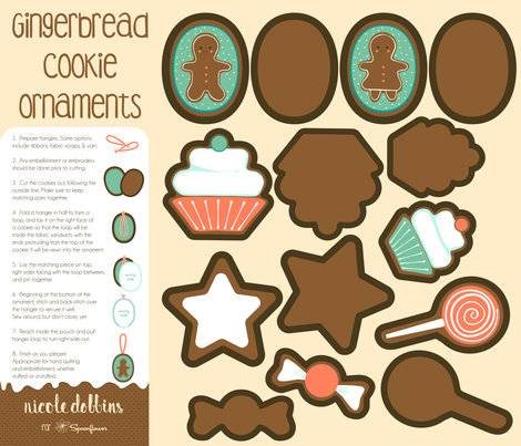 Gingerbread Cookie Ornaments Fat Quarter Project fabric by nicoledobbins on Spoonflower - custom fabric