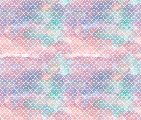 "Watercolour Mermaid Scales 1"" fabric by xtinew on Spoonflower - custom fabric"