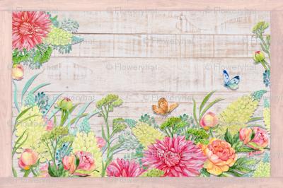 PLACEMAT TEA TOWEL PANEL FLOWERS ON WOOD HYDRANGEA PINK YELLOW FLOWERS BUTTERFLIES