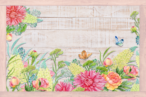 PLACEMAT TEA TOWEL PANEL FLOWERS ON WOOD HYDRANGEA PINK YELLOW FLOWERS BUTTERFLIES fabric by floweryhat on Spoonflower - custom fabric