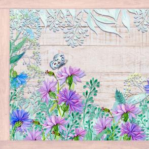 PLACEMAT TEA TOWEL PANEL FLOWERS ON WOOD HYDRANGEA BLUE PURPLE FLOWERS BUTTERFLY