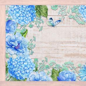 PLACEMAT TEA TOWEL PANEL FLOWERS ON WOOD HYDRANGEA BLUE FLOWERS BUTTERFLIES