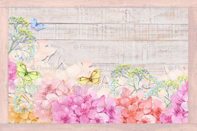 PLACEMAT TEA TOWEL PANEL FLOWERS ON WOOD BUTTERFLIES HYDRANGEA PINK