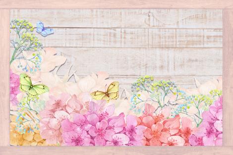 PLACEMAT TEA TOWEL PANEL FLOWERS ON WOOD BUTTERFLIES HYDRANGEA PINK fabric by floweryhat on Spoonflower - custom fabric