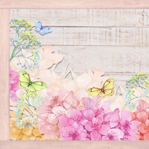 PLACEMAT TEA TOWEL PANEL FLOWERS ON WOOD BUTTERFLIES HYDRANGEA PINK