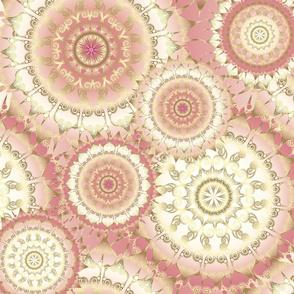Delicate Gold Rose Mandala Pattern