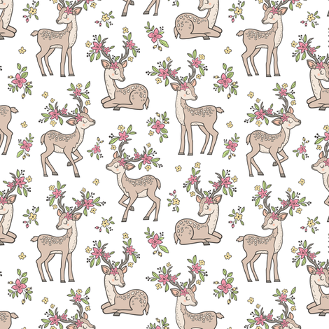 Dreamy Deer with Flowers Floral Woodland Forest on White Smaller 2,5 inch fabric by caja_design on Spoonflower - custom fabric
