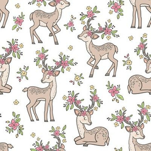 Dreamy Deer with Flowers Floral Woodland Forest on White Medium