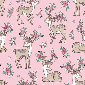 Dreamy Deer with Flowers Floral Woodland Forest on Pink Medium
