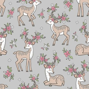 Dreamy Deer with Flowers Floral Woodland Forest on Light Grey Medium