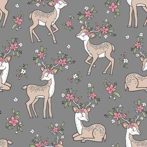 Dreamy Deer with Flowers Floral Woodland Forest on Dark Grey Medium