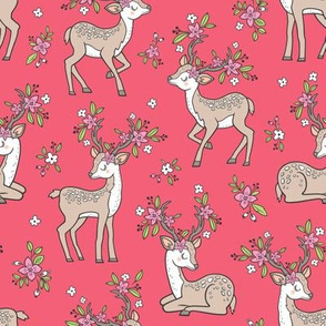 Dreamy Deer with Flowers Floral Woodland Forest on Red Medium