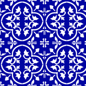 Indonesian Royal Blue Outdoor pillow moroccan tiles fabric bright blue patio porch pool