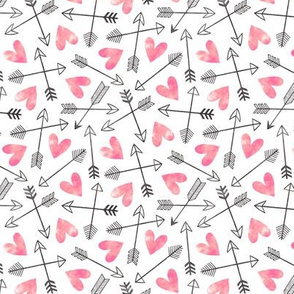 Arrows and Watercolor Hearts Love Valentine Pink Smaller