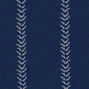 indigo linen stripe stitch stitched stripe triangle v