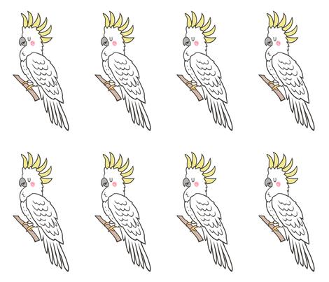 Tropical Bird Cockatoo Pillow Plush Plushie Softie Cut & Sew fabric by caja_design on Spoonflower - custom fabric