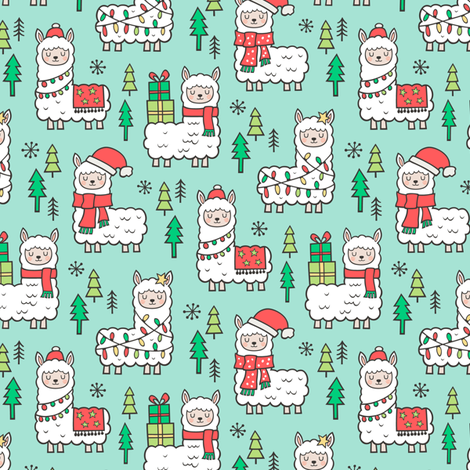Holidays Christmas llamas on Mint Green Smaller fabric by caja_design on Spoonflower - custom fabric