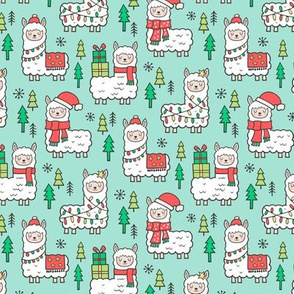 Holidays Christmas llamas on Mint Green Smaller