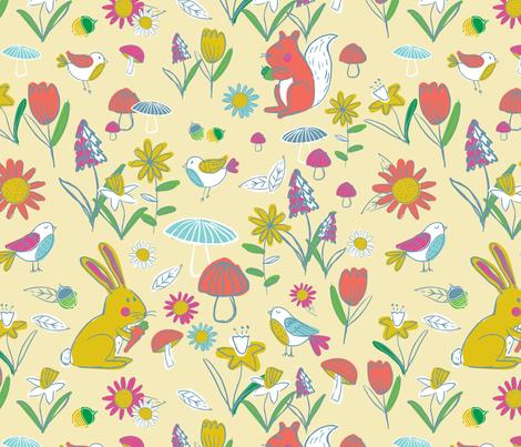 Woodland Frolic - Yellow fabric by lizalew on Spoonflower - custom fabric