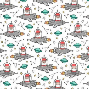 Christmas Santa Claus in Space Rockets, Planets & Constellations on White Smaller