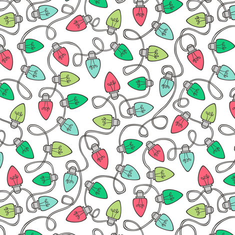 Christmas Xmas Holiday Lights Bulbs Red Green on White Smaller Tiny fabric by caja_design on Spoonflower - custom fabric