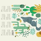 Wolf tea towel calendar 2021 mustard/green