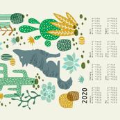 Wolf tea towel calendar 2020 mustard/green
