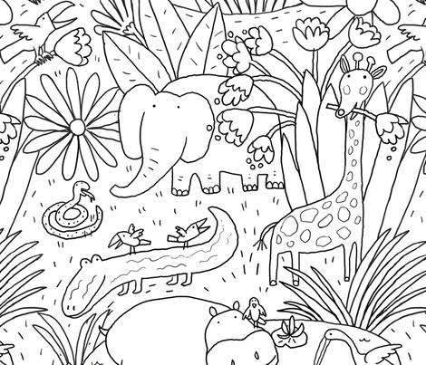 JUNGLE BLACK AND WHITE fabric by nadinewestcott on Spoonflower - custom fabric