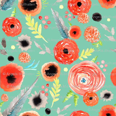 orange floral pattern green background