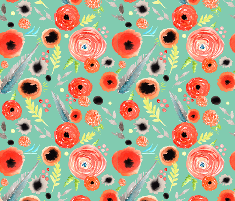 orange floral pattern green background fabric by artgirlangi on Spoonflower - custom fabric