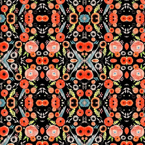 orange floral repeat pattern black background