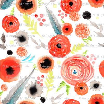 orange floral repeat pattern