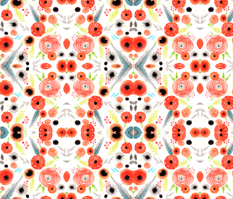 orange floral repeat pattern fabric by artgirlangi on Spoonflower - custom fabric