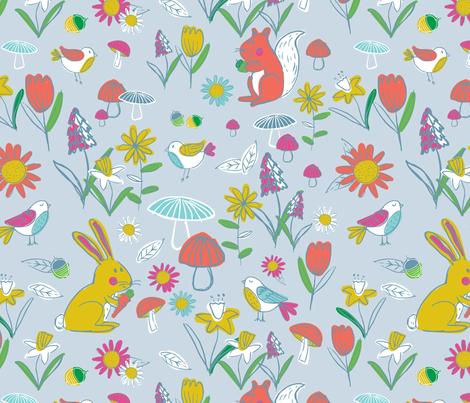 Woodland Frolic - Blue fabric by lizalew on Spoonflower - custom fabric