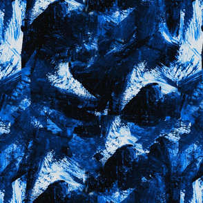 Blue and white storm clouds abstract print