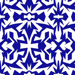 blue and white fractal mod op art
