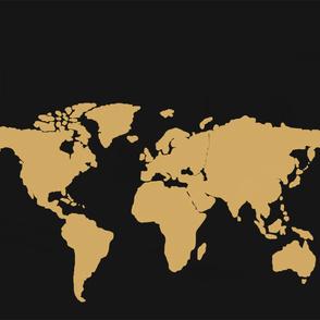 World map black silhouette4_ - Canvas