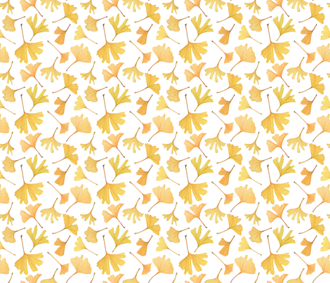 Watercolor Gingko Leaves -- Small Scale fabric by mygiantstrawberry on Spoonflower - custom fabric