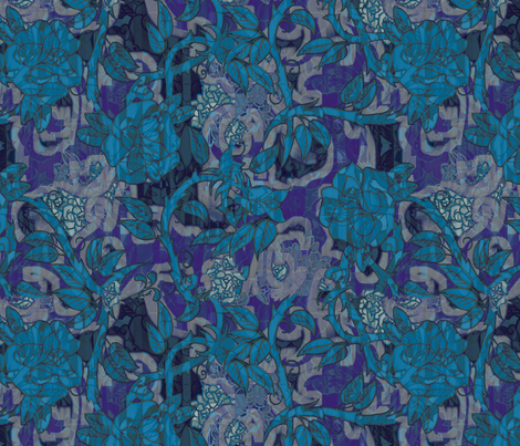 deconstructed_blue_roses fabric by isabella_asratyan on Spoonflower - custom fabric