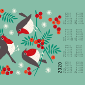 Robin tea towel calendar 2020 mint