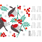 Robin tea towel calendar 2020 white